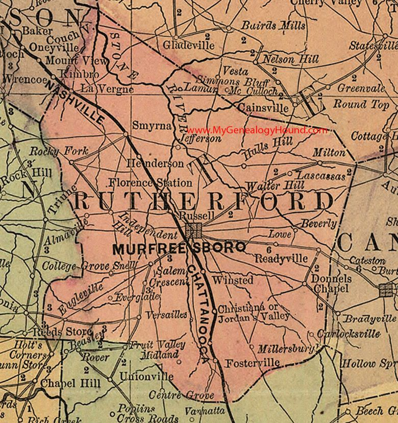 Rutherford County Tennessee 1888 Map Murfreesboro Smyrna La