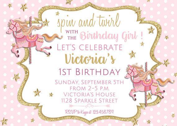 Bonita Invitación De Cumpleaños De Carrusel Carrusel Fiesta