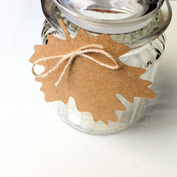 Maple Leaf shape gift tags. Autumn Fall decor, rustic gift wrap, weddings, Christmas, decorations, place cards, blank kraft tag. Canada Day.
