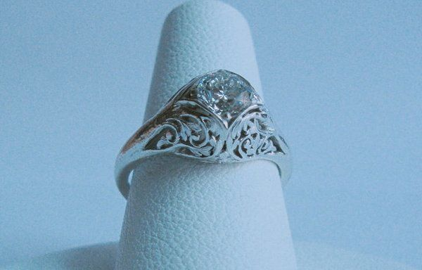Tree engagement ring side view set with .65 carat diamond   Yelp -- This is the most perfect thing I have ever seen in my life.