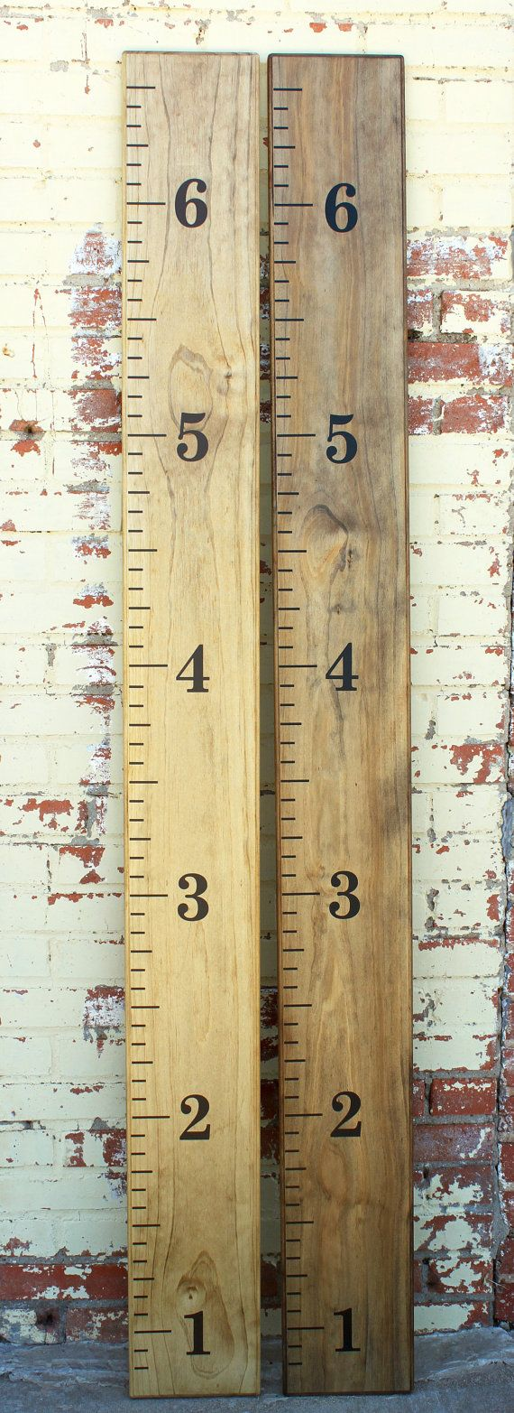 Hand Stained Wooden Growth Chart Ruler Vintage Design