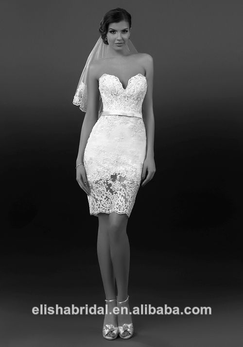 Strapless Sweetheart Neckline Ribbon Belt See Through Sheer Lace Tight Sexy Short Wedding Dresses View