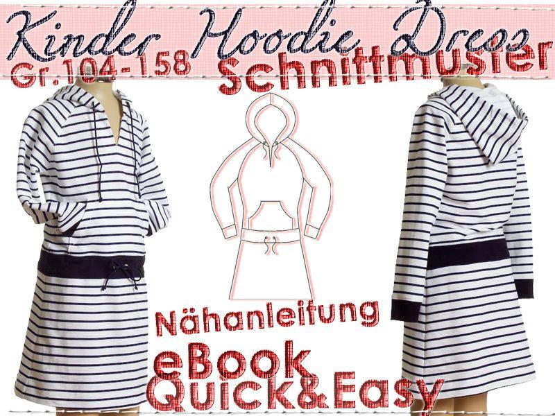 Kinder Hoodie Dress SCHNITTMUSTER Gr.104-158 Ebook von schnittvision ...