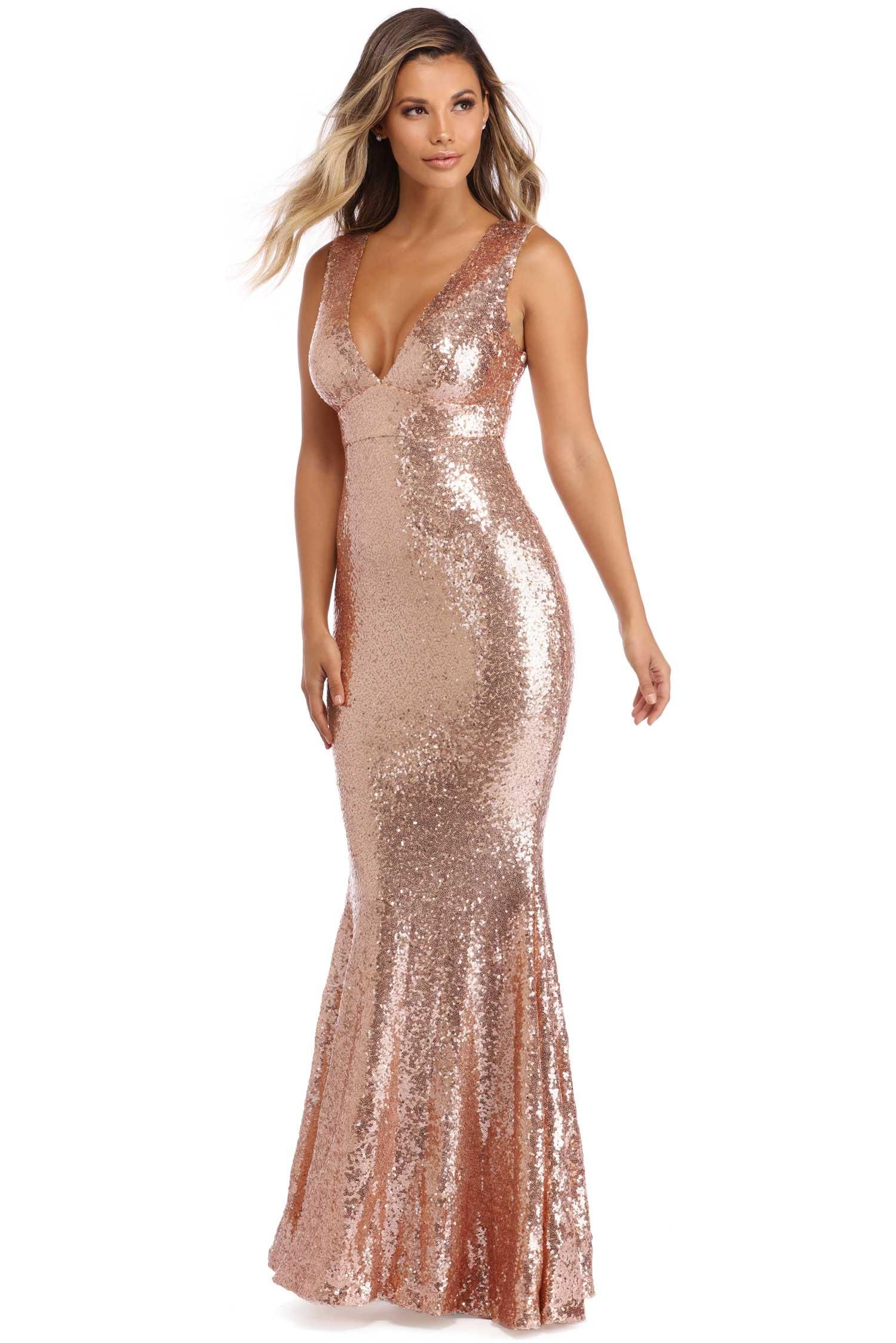 Cassidy rose gold sequin mermaid dress bridesmaids dresses