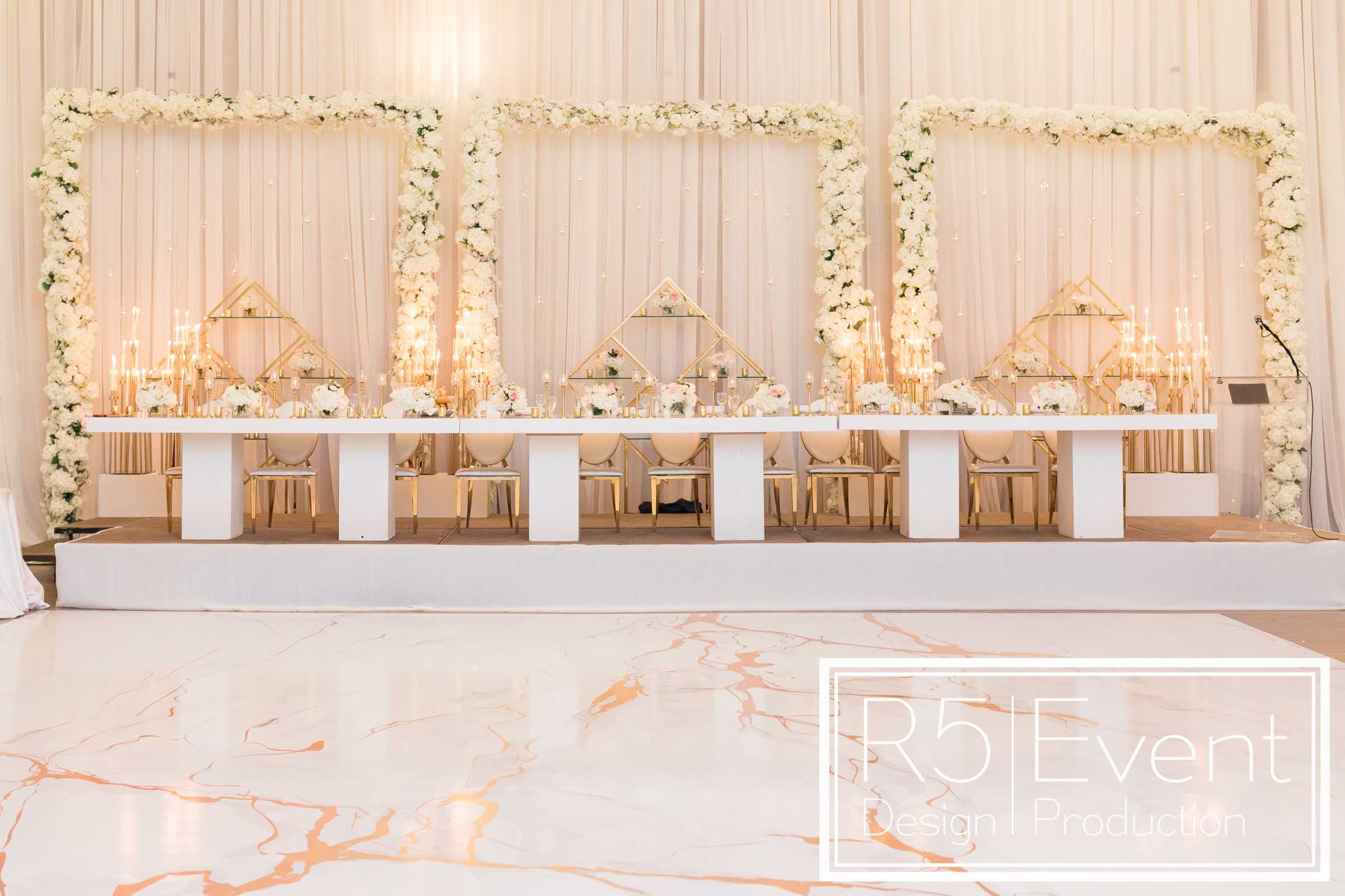 Incredible Headtable With Custom Backdrop Featuring Drapery Gold Accents Candles And F Corporate Events Decoration Event Design Corporate Event Design