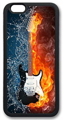 Zenzzle Stylish Silicone Case For Iphone 6 Plus Tpu Black Abstract Guitar Half On Fire Half In Water Zenzz Music Wallpaper Guitar Images Water Illustration