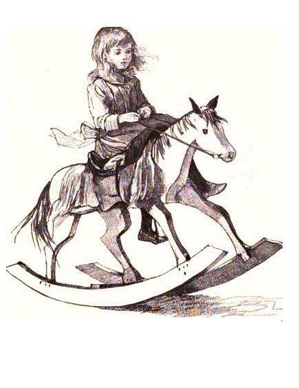 Девочка на лошадке-качалке