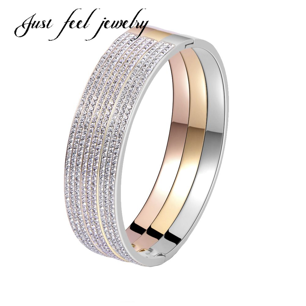 Click to buy ucuc trendy luxury jewelry stainless steel bangles