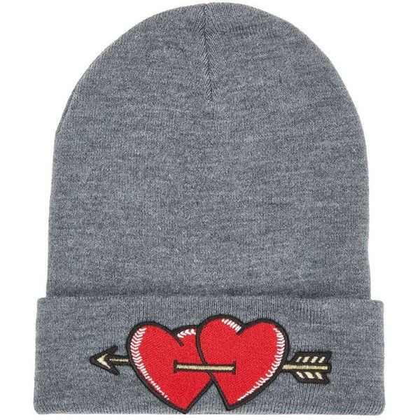 Maje Heart Beanie Hat ($87) ❤ liked on Polyvore featuring accessories, hats,.  Embroidered ...