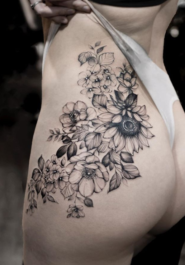 Cool Flower Tattoos : flower, tattoos, Unique, Flower, Tattoo, Design, -Rose, Sunflower, Latest, Fashion, Trends, Woman, Cover, Tattoo,, Designs