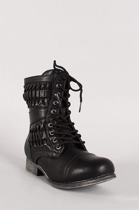 Woven Military Lace Up Boot