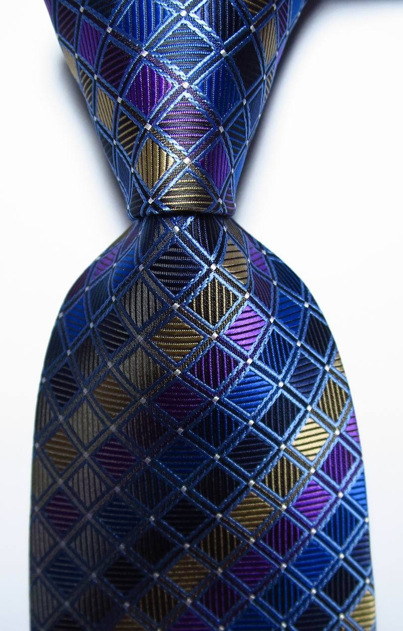 Hot Classic Checks Gold White Blue JACQUARD WOVEN 100/% Silk Men/'s Tie Necktie
