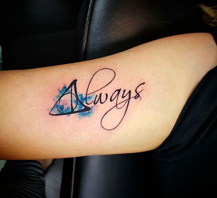 52 Harry Potter Tattoos That Are So Cool They Re Magical Always Tattoo Harry Potter Tattoos Always Harry Potter Tattoo