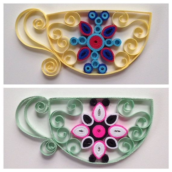 *This product is made after order so you know it is uniquely individual!* Here are some quaint quilled tea cup magnets to brighten up any magnetic space! The magnets are very strong! You can message me for a color theme or order and wait for the surprise! They are about 2in at their