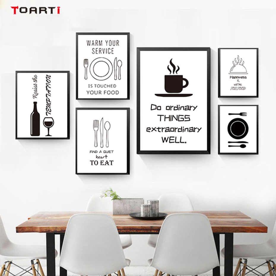 Black White Minimalist Kitchen Wall Art Canvas Painting Picture Food Pareti Della Cucina Arredamento Stampe