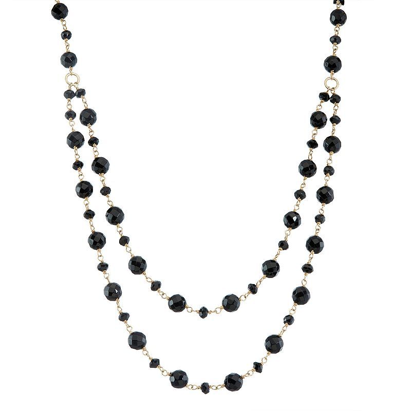 """14k Gold Onyx & Black Spinel Swag Necklace, Women's, Size: 19"""""""