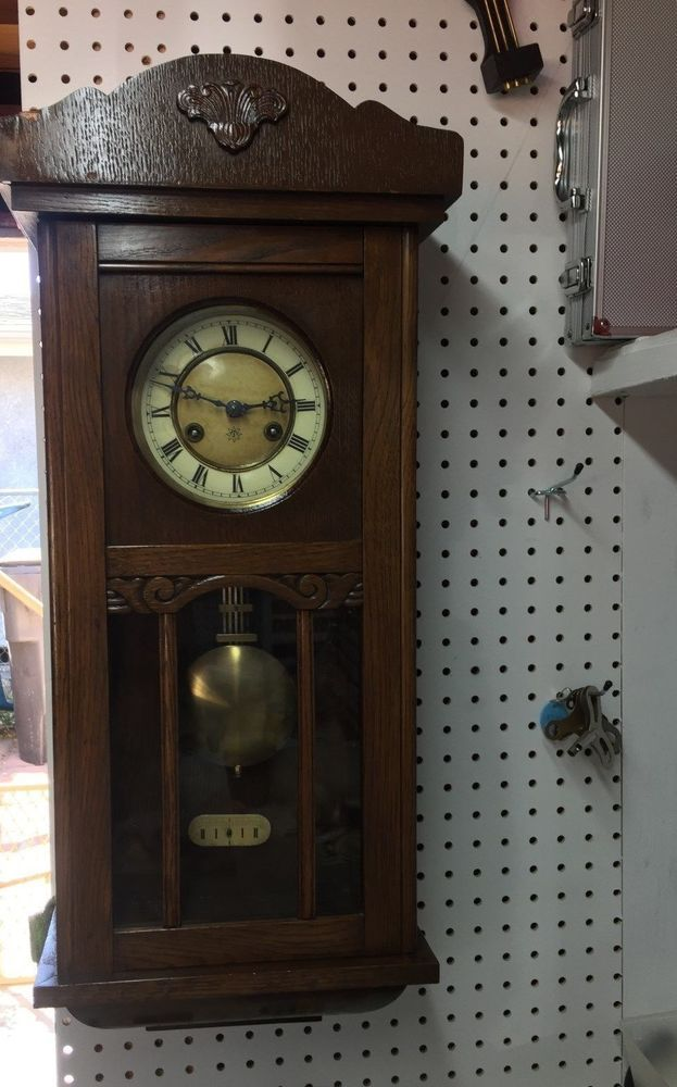 Antique Junghans Wall Clock With Pendulum Key Ebay Pendulum Wall Clock Wall Clock Clock