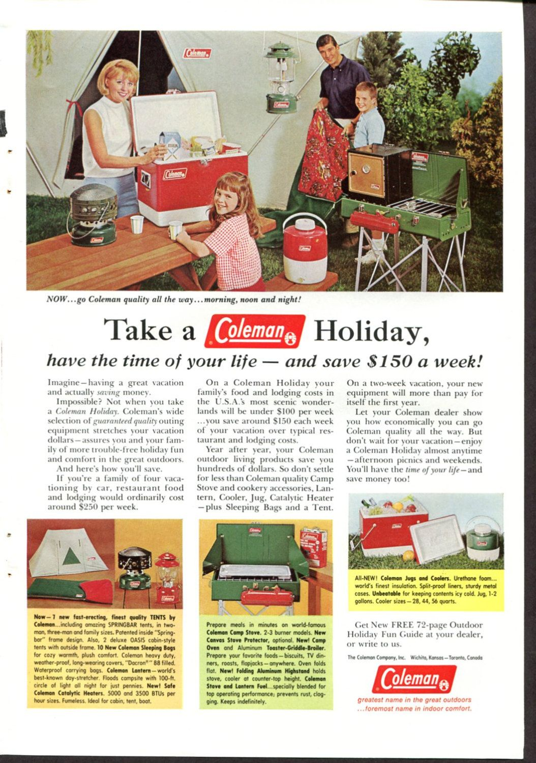Coleman Ad Vintage Camping Equipment Happy Family Holiday Wichitan Kansas 1960s