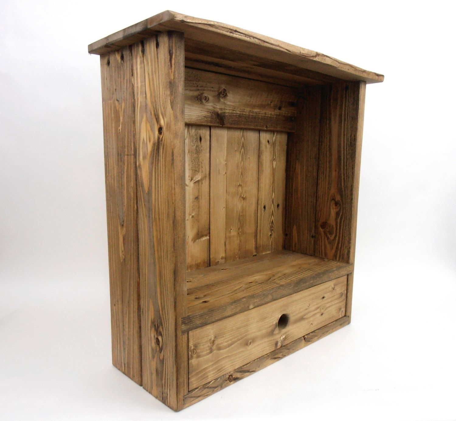 Wall Cabinet With Drawer, Pallet Wood Wall Cabinet