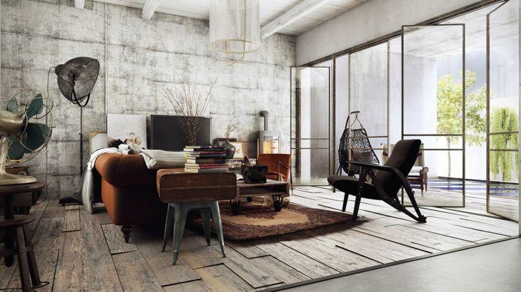 industrial design wohnzimmer braun sofa betonwand boden holz möbel ...