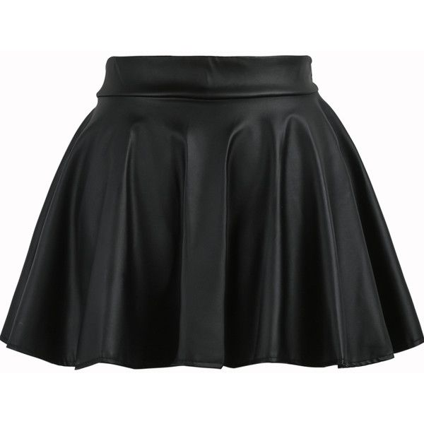 Pleated Flare PU Black Skirt (155 ZAR) ❤ liked on Polyvore featuring skirts, bottoms, saias, black, pleated skirt, flared skater skirt, flared hem skirt, mini skater skirt and flare skirt