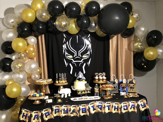 BLACK PANTHER AVENGERS PERSONALISED BIRTHDAY PARTY BANNER BACKDROP