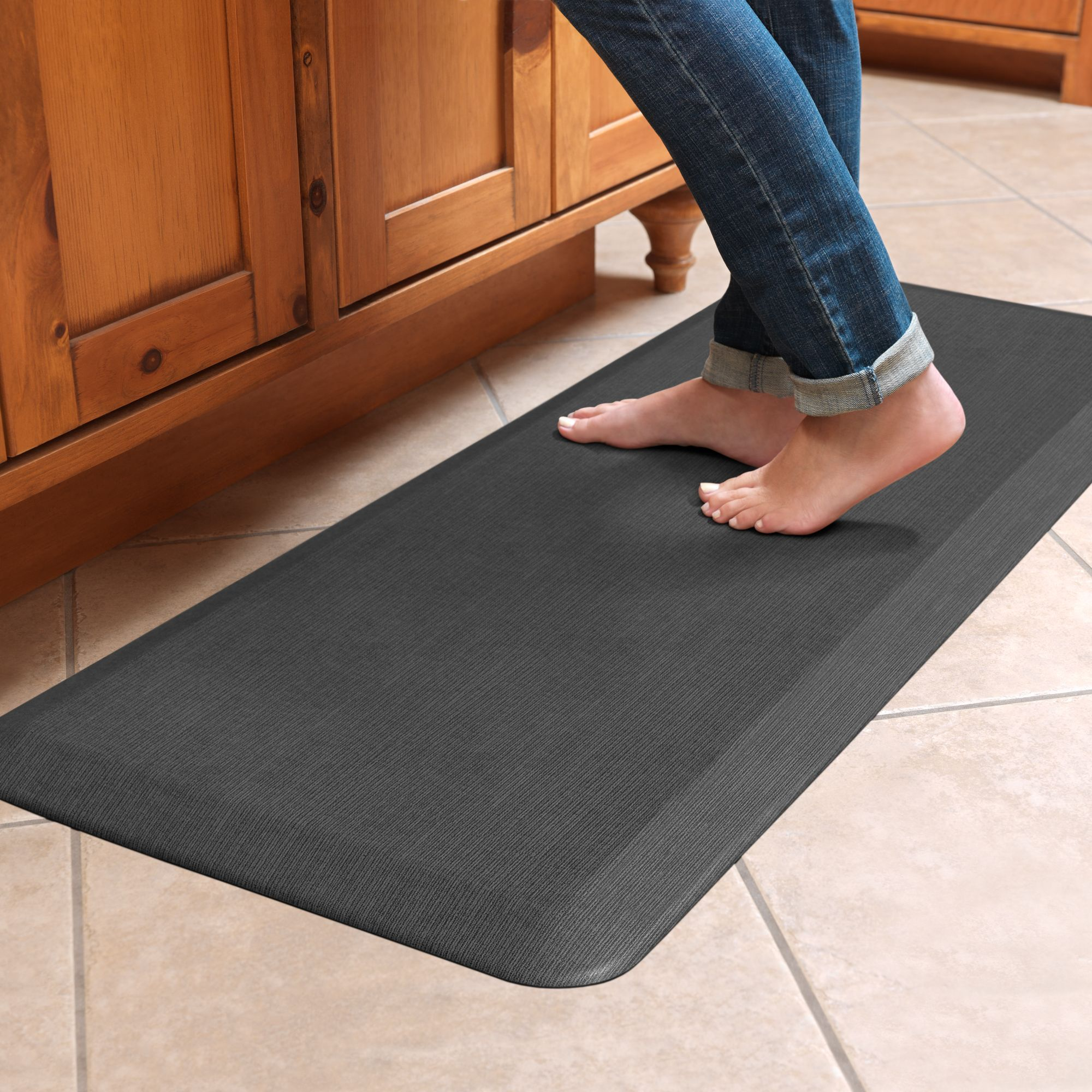 NewLife by GelPro Designer fort Mat 20x48 Grasscloth Charcoal