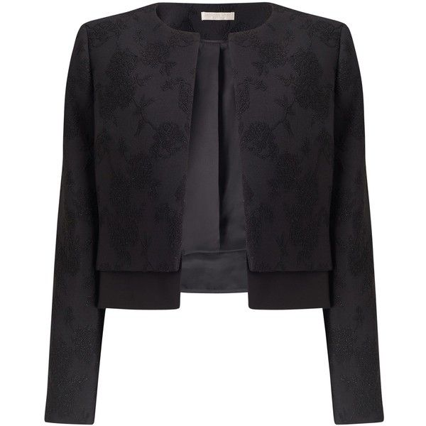 Jacques Vert Petite Textured Jacket, Black (£97) ❤ liked on ...