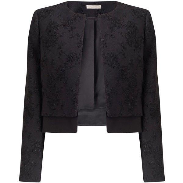 Jacques Vert Petite Textured Jacket, Black (£97) ❤ liked on ...