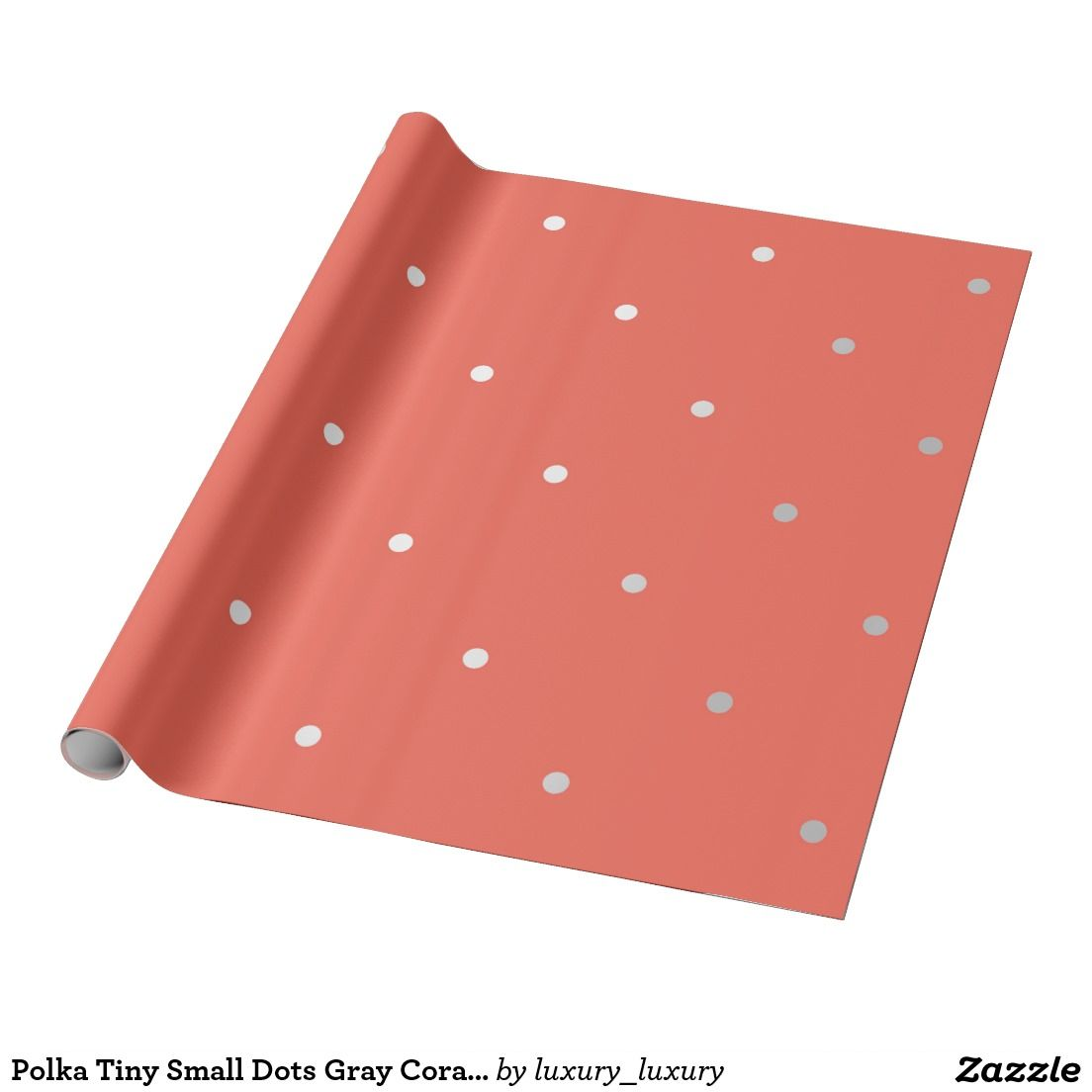 Polka Tiny Small Dots Gray Coral Orange Red Wrapping Paper