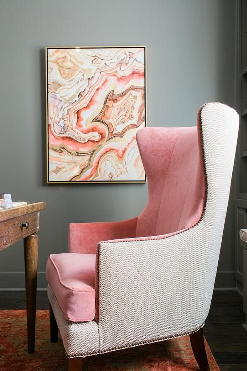 Gray And Pink Office Features Walls Painted Gray Sherwin