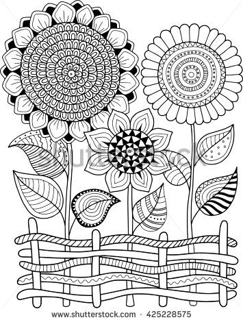 Coloring Book For Adult Meditation And Relax Vector Sunflowers