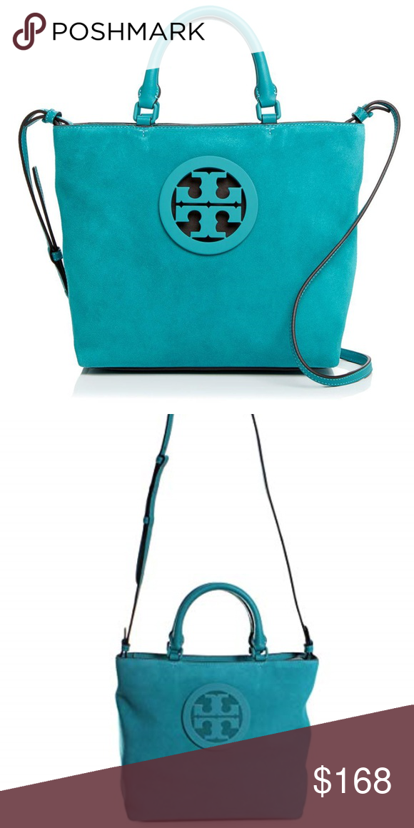 e4ab4846ea4 Tory Burch Charlie Small Suede Tote in Turquoise Whether you re heading to  the office