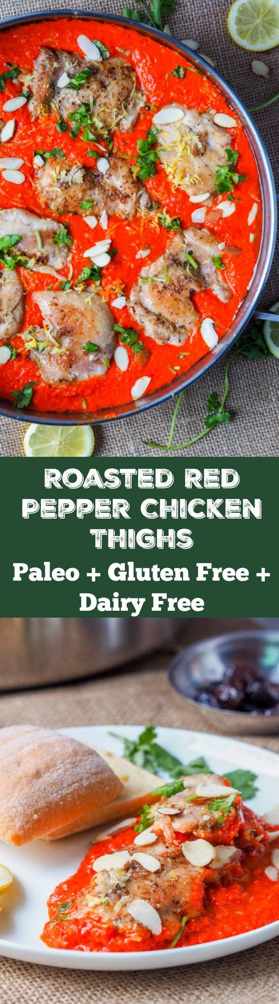Seven Ingredient Roasted Red Pepper Chicken Is Made With Chicken Thighs Cooked In A Super Creamy Roa Free Chicken Recipes Paleo Chicken Recipes Chicken Recipes