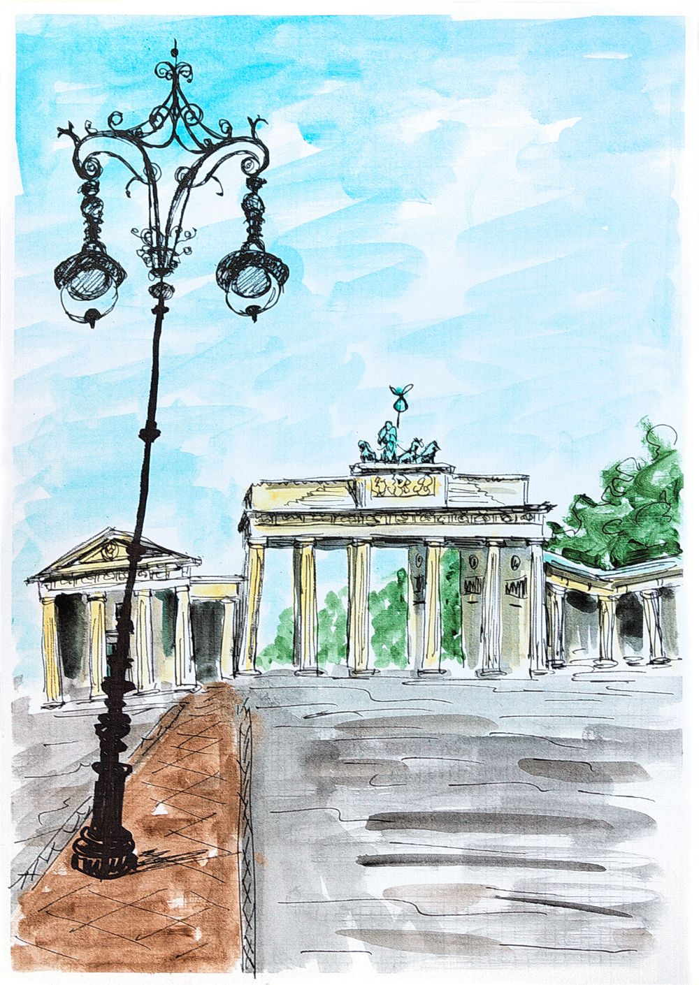 Berlin Painting Pariser Platz And Brandenburg Gate Germany