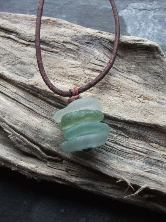 Sea Glass and leather Necklace Scottish by byNaturesDesign on Etsy, $14.00
