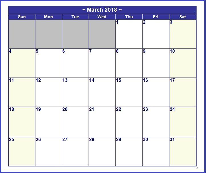 March 2018 Vertical Calendar Word Calendar 2018 Pinterest