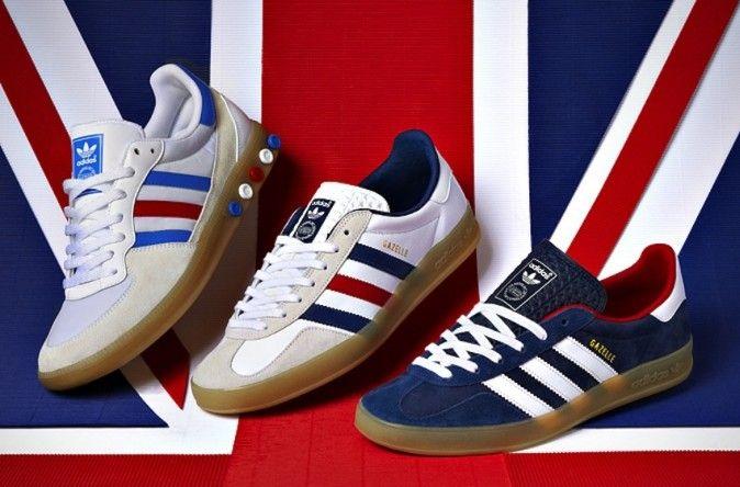 adidas gazelle white blue red