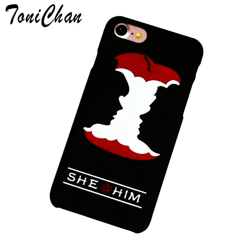 2017 Sweet Funny Case for iPhone 5s Case Boy Girl Kiss Face Apple Love Cover for iPhone 5 6S 7 Plus Couple Coque Back Phone Bag