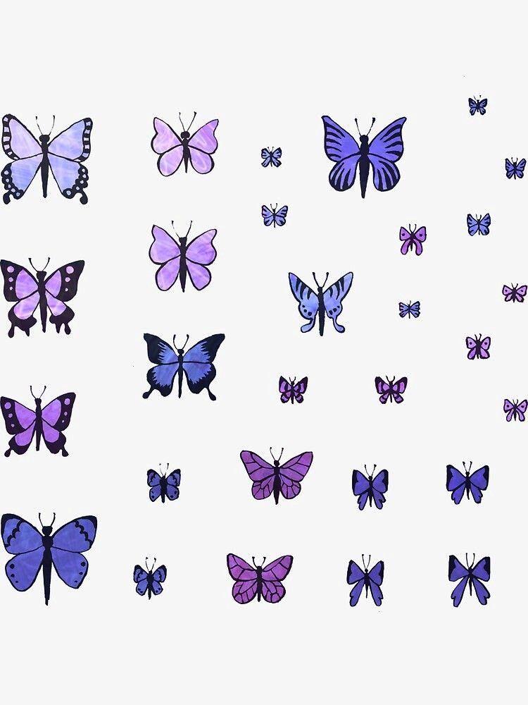 Swarm  Purple Sticker by Olooriel Butterfly Swarm  Purple Sticker by Olooriel  Jhopes Sprite Sticker by everythingbts  Redbubble Butterflies Sticker by katemkuc  White  3...