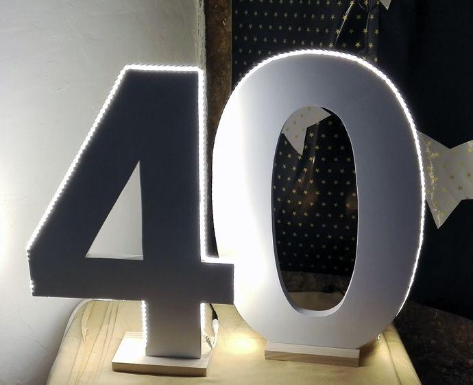 Letras LED - Letras de madera con LED - Letras luminosas - Letras personalizadas - Letras con luces personalizadas - Letras - Iniciales - Bodas - Cumpleaños