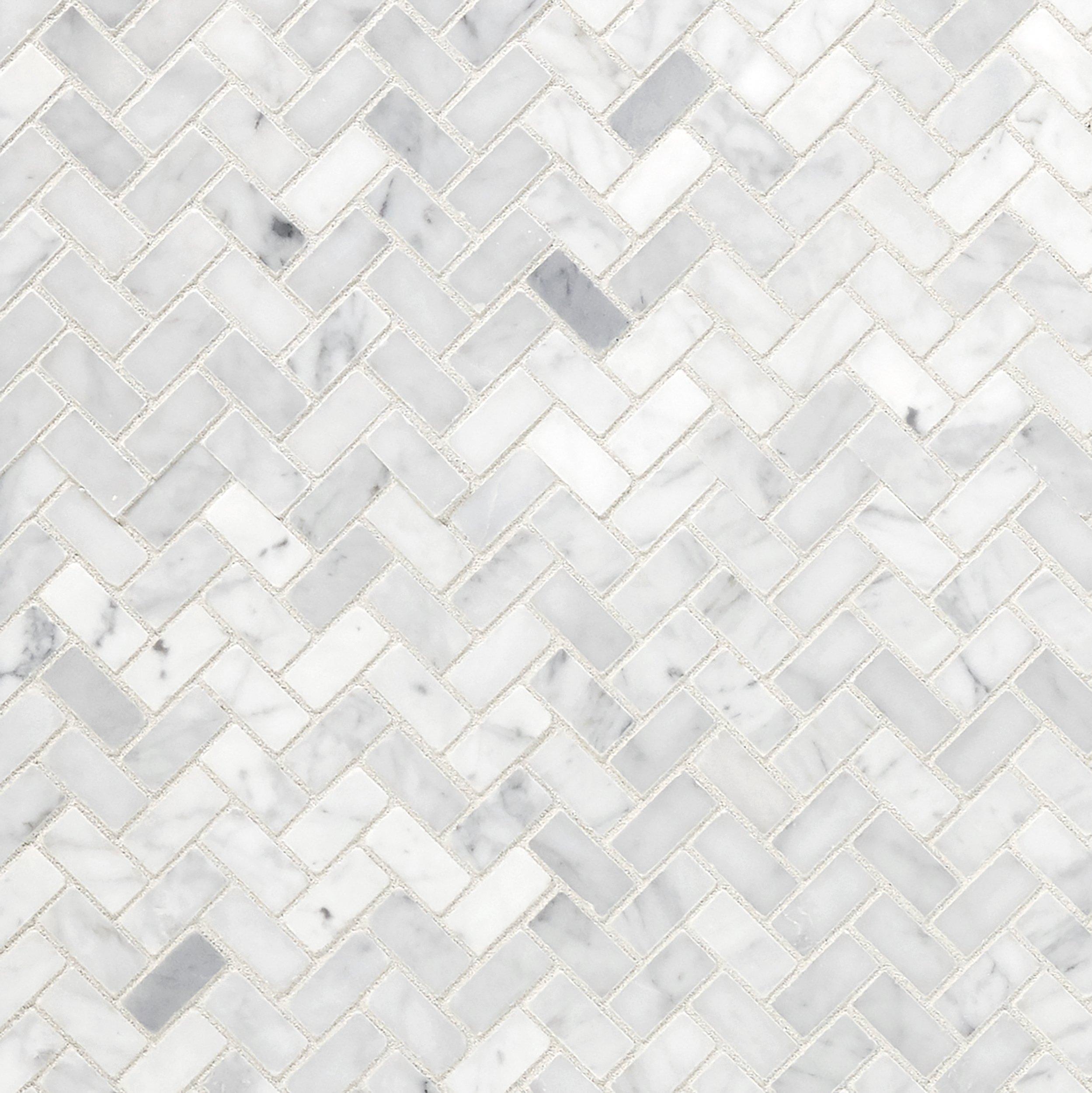 Bianco Carrara Herringbone Marble Mosaic In