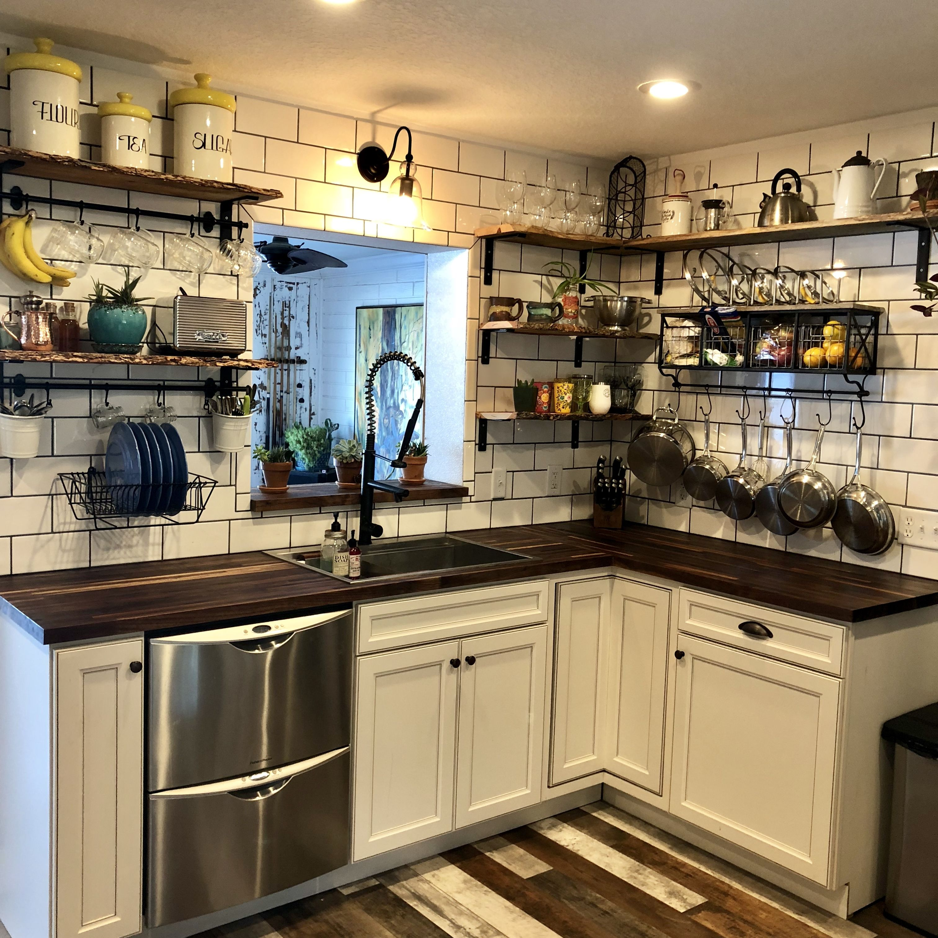 Farmhouse style kitchen live edge wood exposed shelves