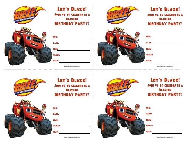Free Printable Blaze And The Monster Machines Birthday Invitations