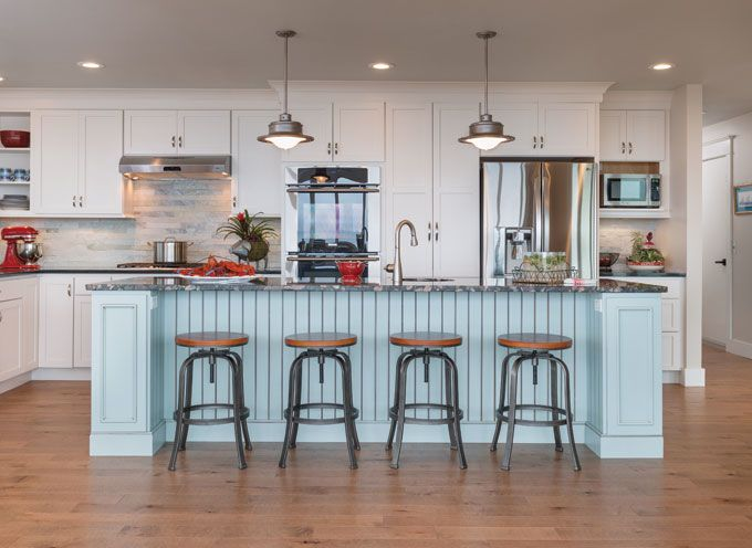 Blue kitchen island caldwell and johnson cool kitchens for Caldwell kitchen cabinets