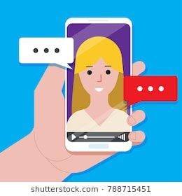 Video chatting online on smartphone vector illustration