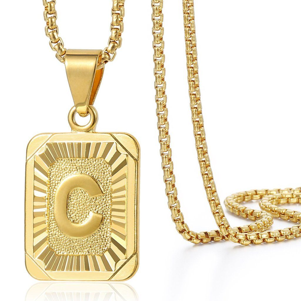 Trendsmax Initial Letter C Pendant Necklace Gold Filled Square Womens Mens Chain Box Link Letter Pendant Necklace Gold Chains For Men Chains For Men