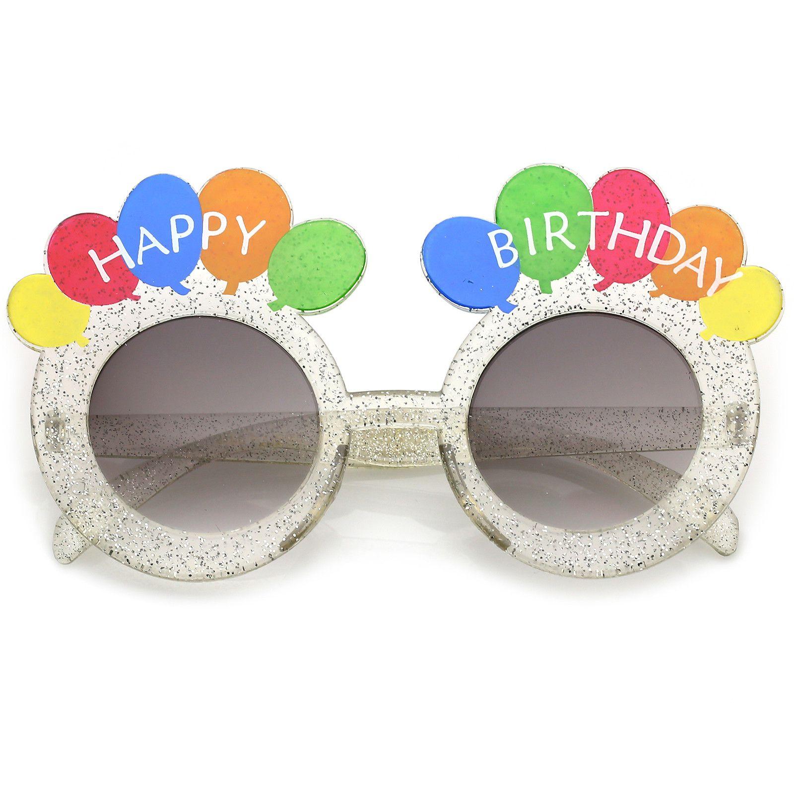 Novelty Translucent Glitter Happy Birthday Glasses With Balloons ...