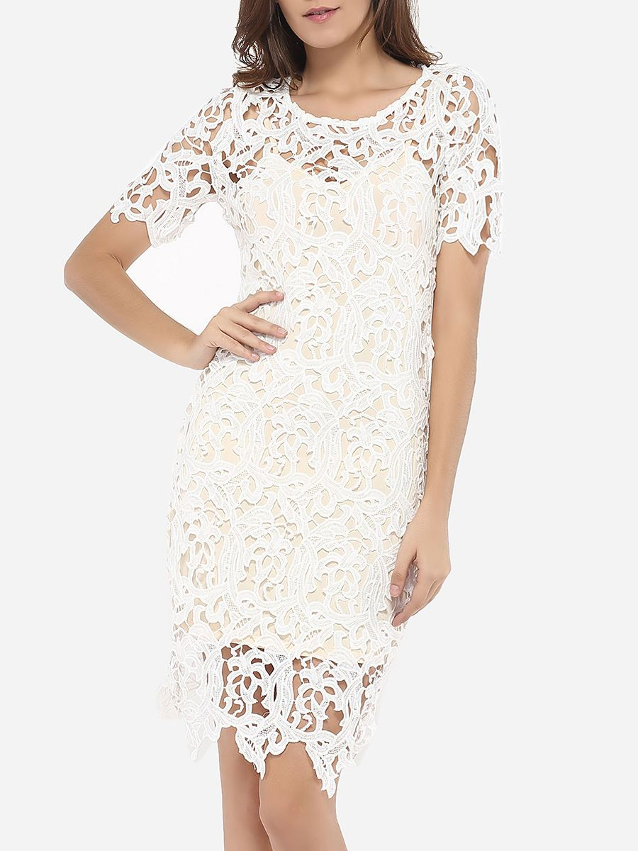 Round Neck Lace Hollow Out Plain Bodycon-dress