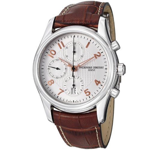Frederique Constant Men's FC-392RV6B6 RunAbout Brown Leather Strap Watch Frederique Constant. $1794.99. Case diameter: 43 mm. Swiss automatic movement. Sapphire crystal. Water-resistant to 100 M (330 feet). Silver dial
